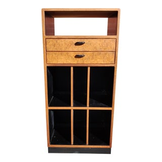 Mid-Century Modern Custom Rosewood and Burl Record Media Cabinet For Sale