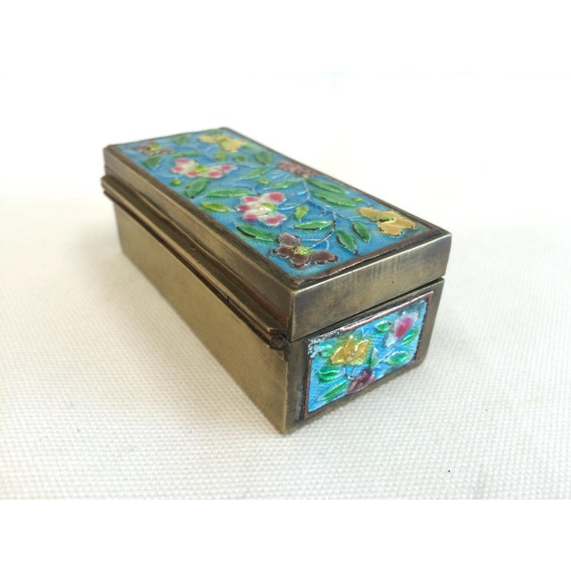 Vintage Chinese Enameled Brass Trinket Box - Image 4 of 7