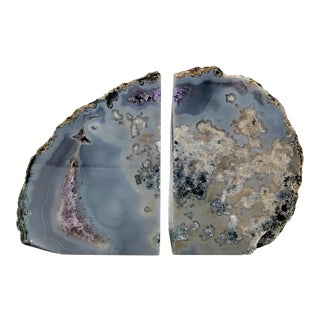 Oversized Amethyst Purple/Gray Polished Geode Bookends - a Pair For Sale