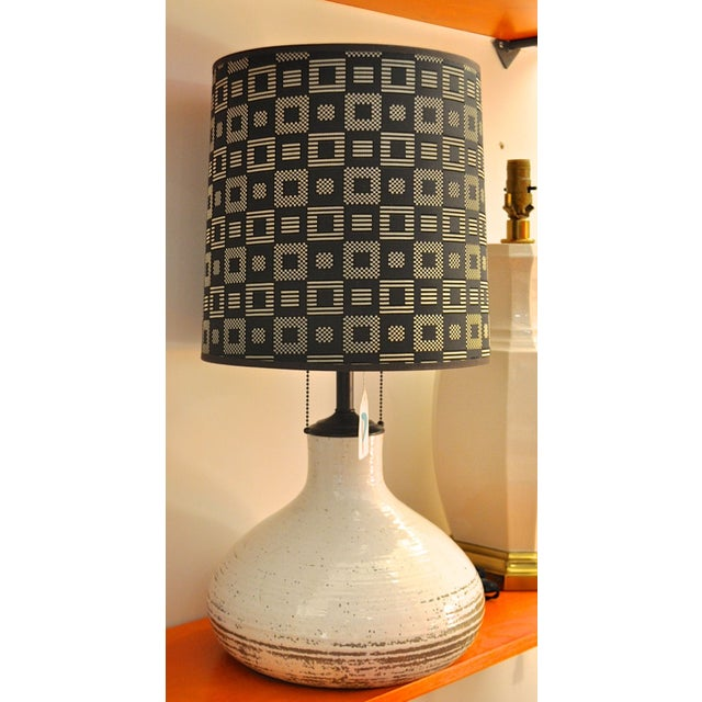 Vintage Stoneware Table Lamp with Shade - Image 2 of 2