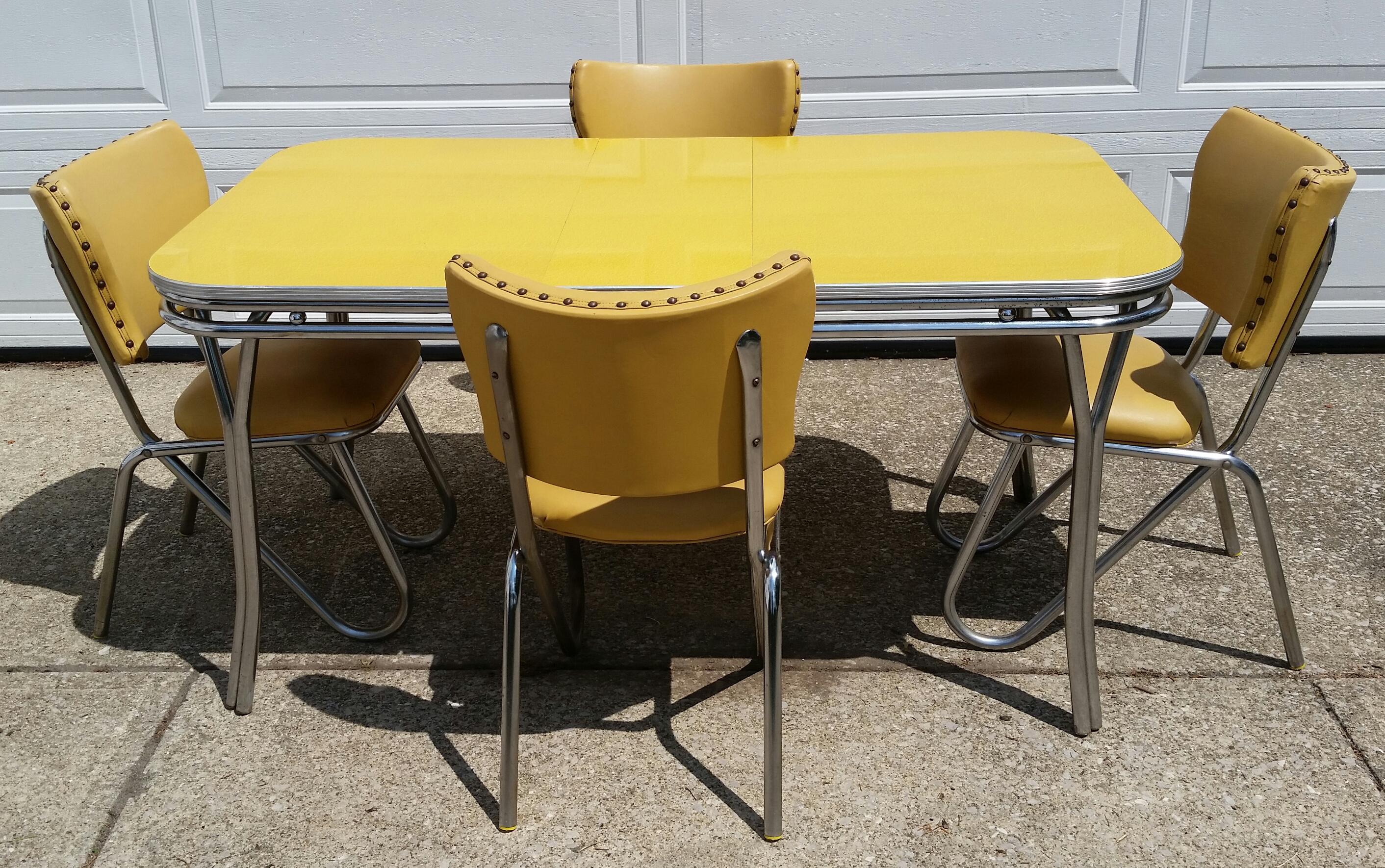 Elegant Vintage Midcentury Retro Yellow Dining Set   Image 2 Of 11