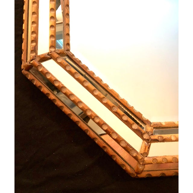 Mid 20th Century Italian Mid-Century Beaded and Beveled Octagonal Wall Mirror For Sale - Image 5 of 10