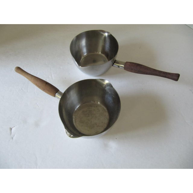 Danish Modern Vintage Pans With Wood Handles- 3 Pieces For Sale - Image 3 of 4
