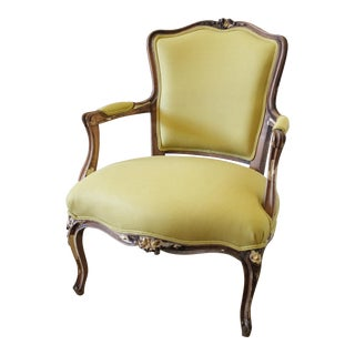 19th Century Louis XV Style Chartreuse Linen Fauteuil For Sale
