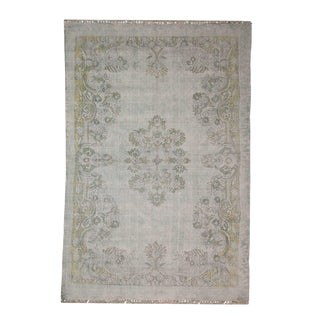 Transitional Floral Pattern Printed Cotton 'Dhurrie' Rug - 4′ × 6′ For Sale