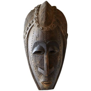 Decorative African Hand-Carved Wood Mask, Circa 1960s For Sale