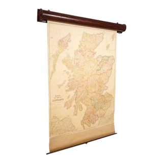 Blacks Large Tourist Map of Scotland in Retractable Mahogany Case For Sale
