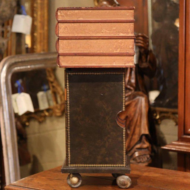 Red Mid-20th Century French Stacked Book End Table on Wheels For Sale - Image 8 of 8