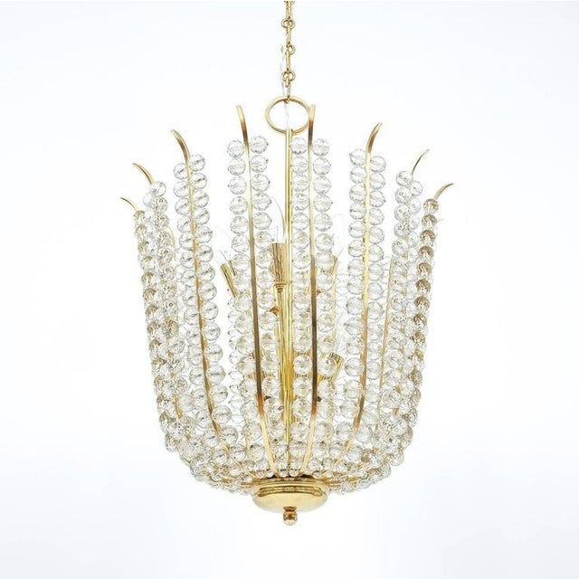 Majestic Basket Crystal and Brass Chandelier Bakalowits, circa 1950 For Sale - Image 6 of 9