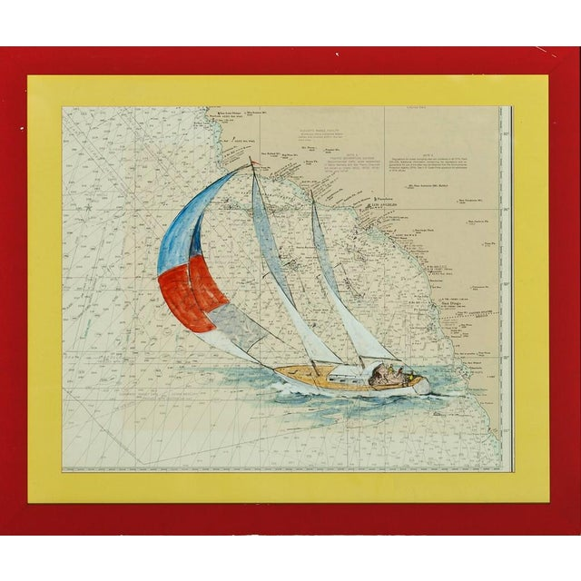 Catalina Island Sailboat Gouache by Renner For Sale