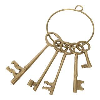 Early 1900's Brass Skeleton Keys On Ring - Set of 5