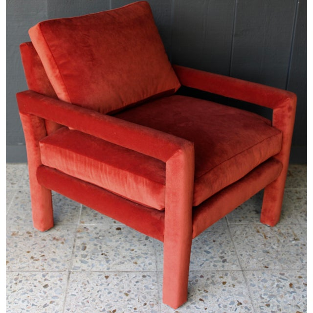 Reupholstered 1970s Mid Century Persimmon Velvet Milo Baughman Club Chair - Image 7 of 7