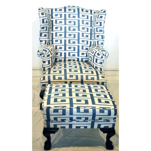 Wood Wing Chair and Ottoman For Sale - Image 7 of 7