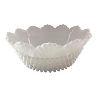 Vintage Fenton Hobnail Milk Glass Fruit Bowl For Sale