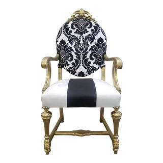 1950s Antique Victorian Black and White Chair For Sale