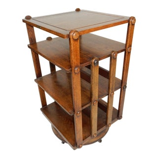 Rare Antique Sargent Mfg. Mission Oak Revolving Bookcase Circa 1883 Signed For Sale