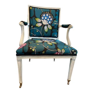 Restyled Vintage Green Armchair For Sale