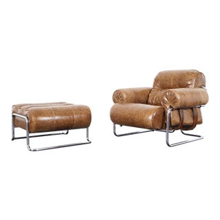 "1970s Italian Leather ""Tucroma"" Lounge Chair and Ottoman by Guido Faleschini - a Pair For Sale"