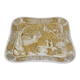 "Chinese Export White Cinnabar Carved Resin 14.5"" Tray For Sale"