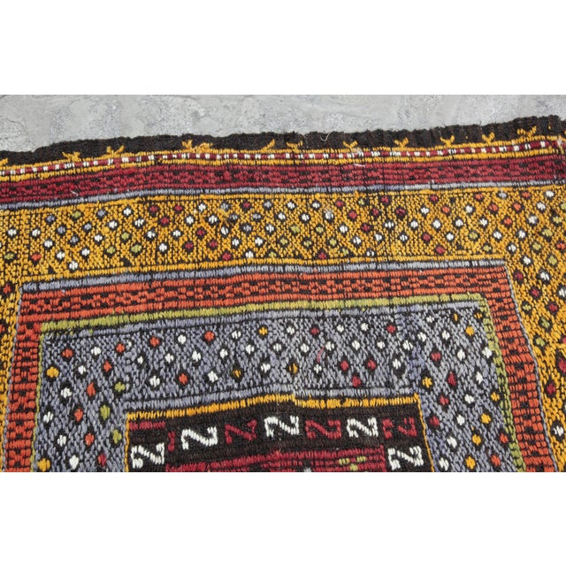 Textile Tribal Vintage Vivid Color Cicim Kilim Rug - 3′4″ × 3′5″ For Sale - Image 7 of 13