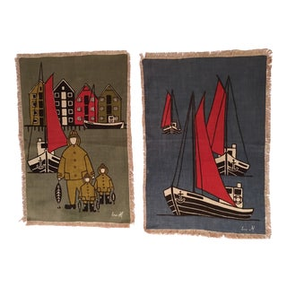 Seafaring Linen Prints - A Pair For Sale