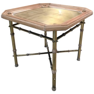 Italian Coffee Table or Side Table in Brass and Wood For Sale