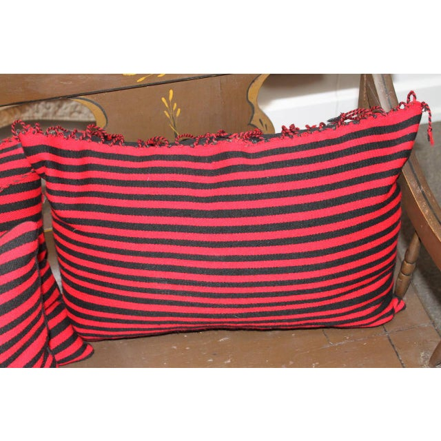 Early 20th Century Group of Three Striped Navajo Indian Weaving Bolster Pillows For Sale - Image 5 of 5