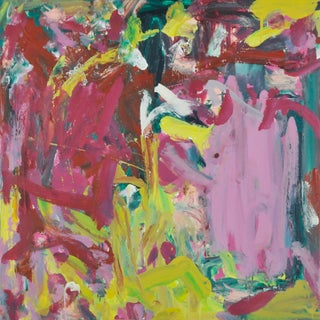 """""""Pink Lime Magenta Patches"""" Contemporary Abstract Acrylic Painting by Robbie Kemper"""