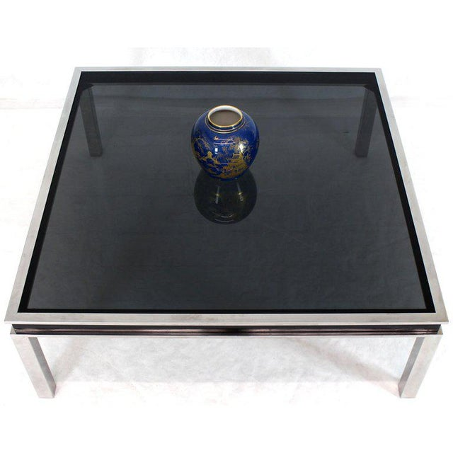 1970s Extra Large Polished Chrome Square Smoked Glass Coffee Table For Sale - Image 12 of 13