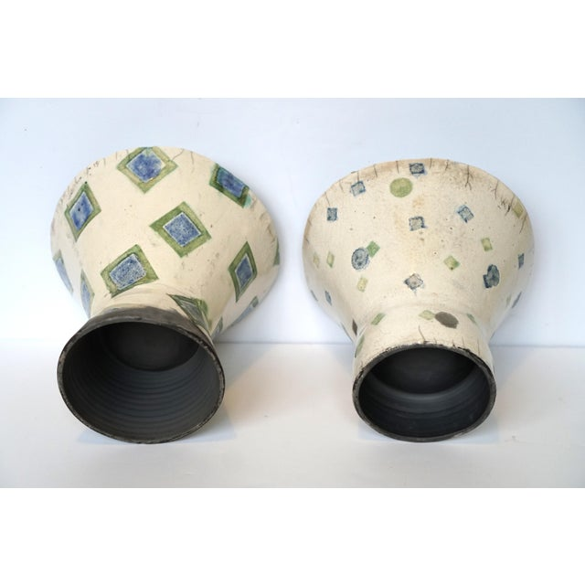 Rustic Patterned Pottery Vases - A Pair - Image 4 of 8