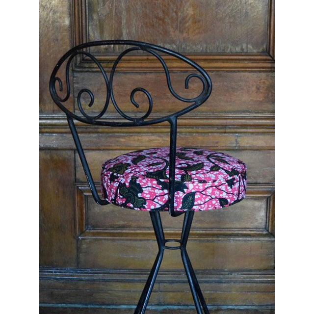 Vintage Wrought Iron Swivel Bar Stools - A Pair - Image 4 of 6