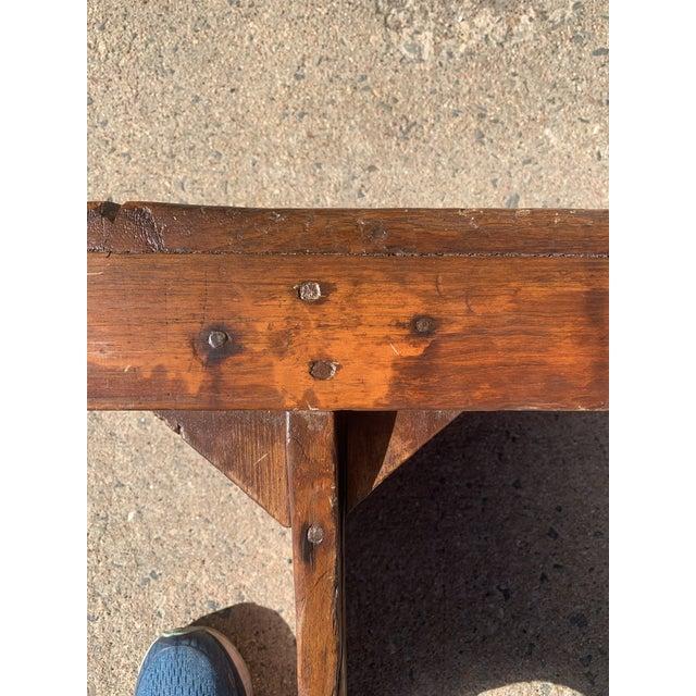1920s Vintage Primitive Brown Pine Bench For Sale - Image 10 of 13