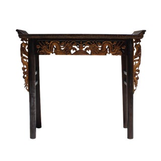 Chinese Vintage Golden Dragons Carving Altar Console Table For Sale