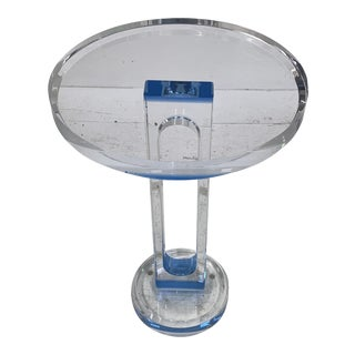 Modern Acrylic Side Table With Blue Accent For Sale