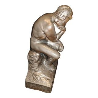"""The Thinker"" by Esco Statue Sculpture Paperweight Bookend Decor For Sale"
