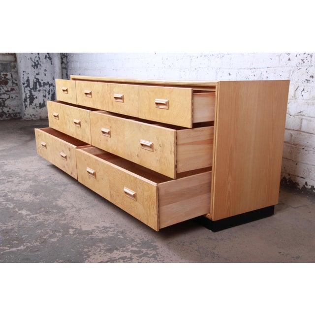 Henredon Milo Baughman Style Burl Wood Long Dresser or Credenza by Henredon For Sale - Image 4 of 13