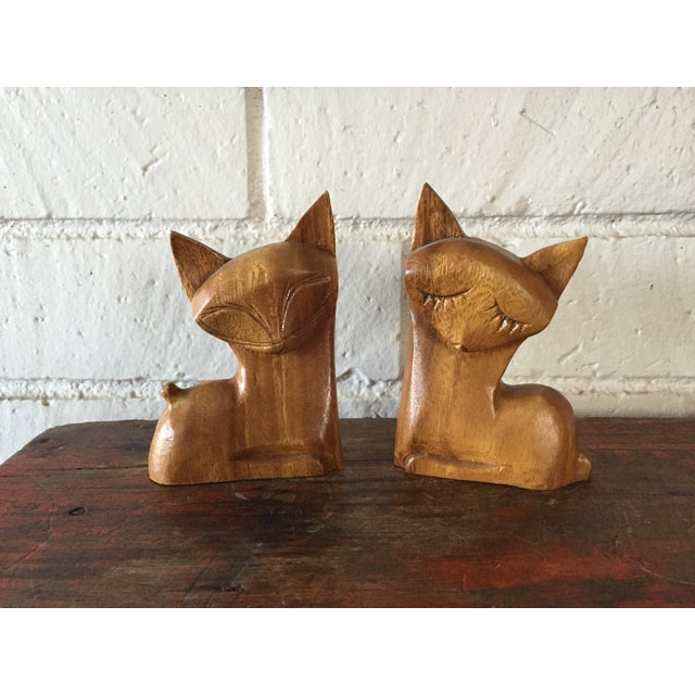 Carved Wood Cats - A Pair - Image 2 of 8