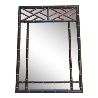 Chippendale Faux Bamboo and Wood Mirror For Sale
