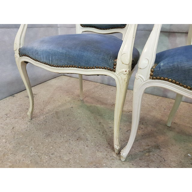 Blue Set of 3 Large French Vintage Whitewashed Velvet Blue Upholstery Louis XV Armchairs For Sale - Image 8 of 13