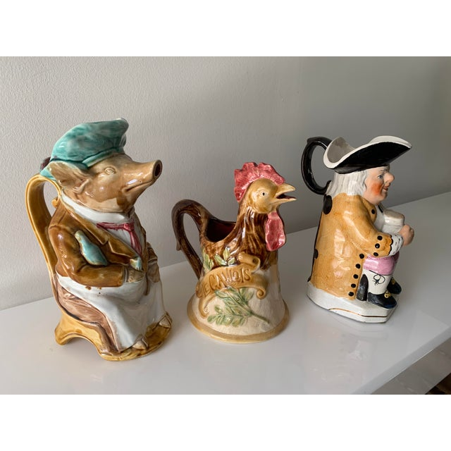 Late 19th Century Majolica Barbotine Pitchers - Set of 3 For Sale - Image 13 of 13