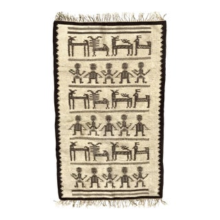 Vintage Yei/Native Wool Rug - 2′9″ × 4′11″ For Sale