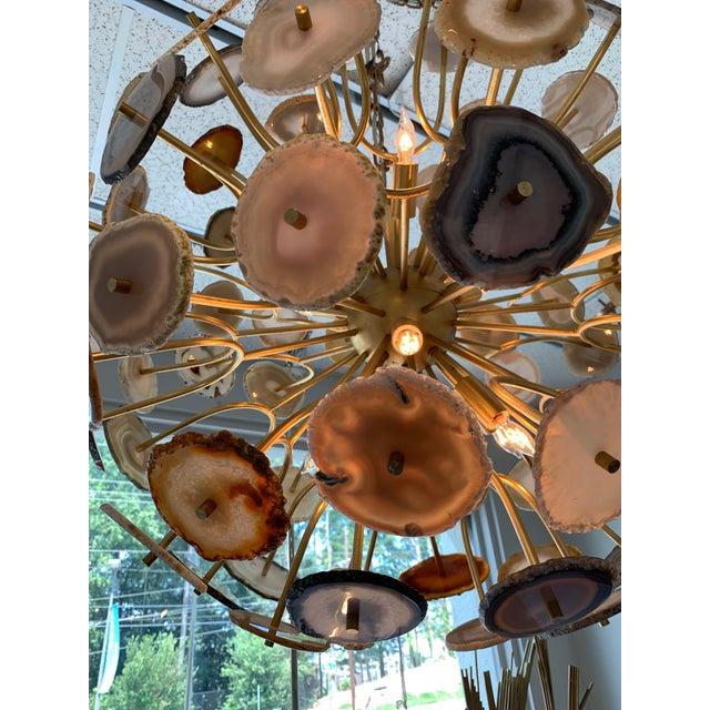 Brass John Richards' Modern Agate Sliced Orb Chandelier For Sale - Image 8 of 8