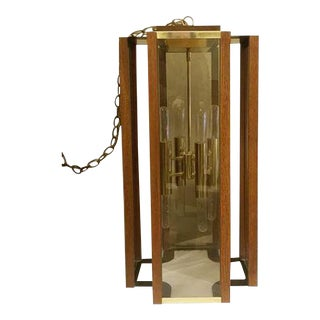 Frederick Ramond Modernist Oak & Brass Hanging Light For Sale
