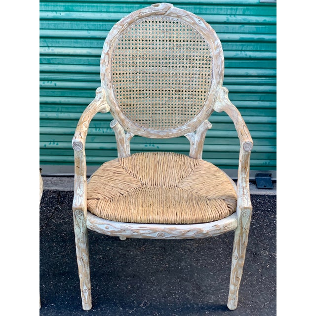 1960's Vintage Louis XVI Faux Bois Branch Form Cane Back Rush Seat Dining Chairs -Set of 6 For Sale - Image 12 of 13