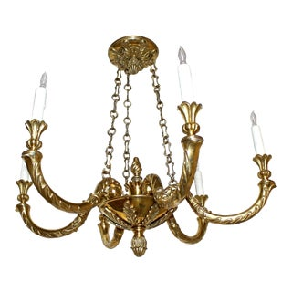 1960's Vintage Italian Solid Bronze Six-Light Chandelier For Sale