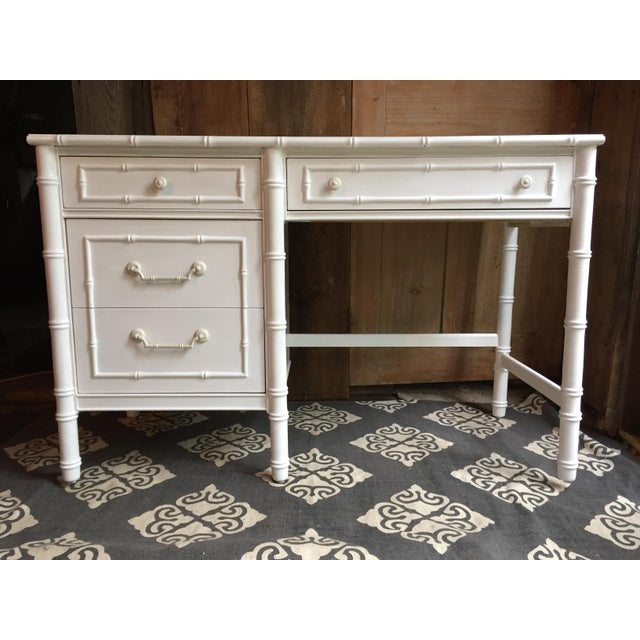 Boho Chic White Faux Bamboo Thomasville Desk For Sale - Image 3 of 3
