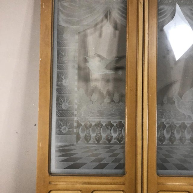 Tan Pair 19th Century Etched Glass Interior Doors For Sale - Image 8 of 12