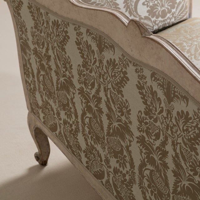 A 19th Century Damask Upholstered Swedish Sofa, circa 1880 For Sale - Image 4 of 8