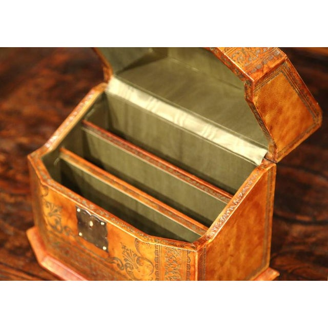 Mid-20th Century Italian Leather & Tooling Letter Holder For Sale - Image 4 of 9