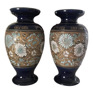 Royal Doulton Blue Ground Slater Large Mantle Vases - a Pair For Sale